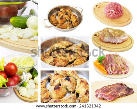 Food Set of Different Raw Meats and Vegetables. Isolated on a White Background. - stock photo