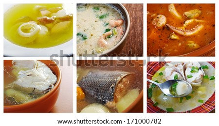 Food set of different  seafoods soups. collage - stock photo