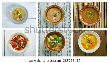 Food set of different traditional soups. collage - stock photo