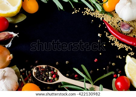 Food spice seasoning ingredients for cooking in cuisine on white background. Dry powder curry, ginger, cardamon, rosemary, salt, paprika, saffron. Asian  yellow, green colorful aroma condiment.   - stock photo