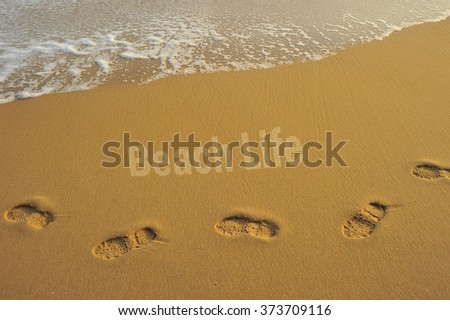"""Food steps on the beach with the effect of morning sun light on the sand and the wave with the word """" beach life """" . slightly soft due to long exposure. - stock photo"""