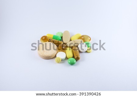 Food supplement tablets and medicines , White background. - stock photo