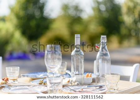 Food table after dinner - stock photo