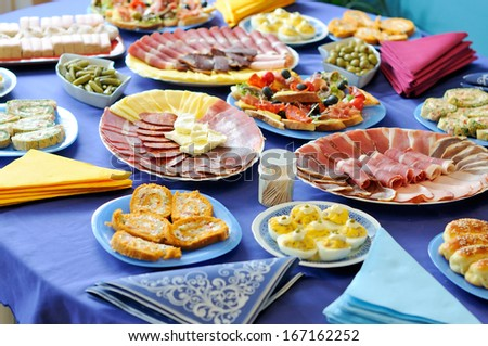 Food table, Mediterranean cuisine - stock photo