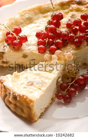 food theme: cheese cake with red currant