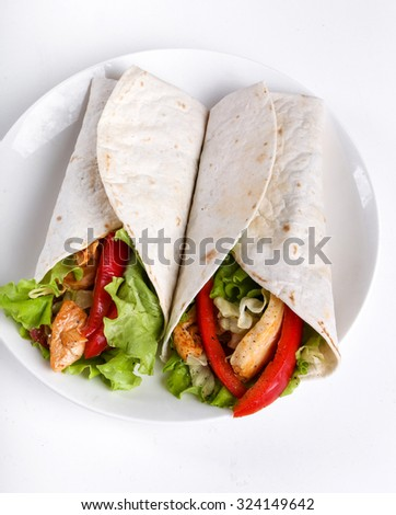 Food. Tortilla on a white background