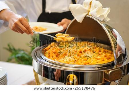 Food tray pasta - stock photo