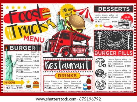 Food Truck Festival Vector Menu Template Stock Vector 671991847 ...