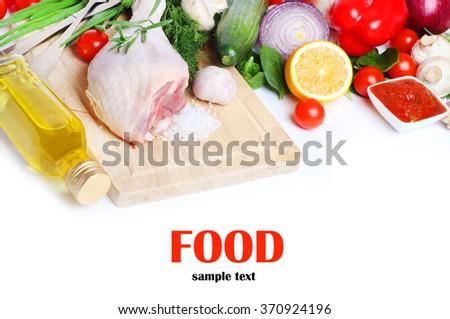 Food turkey vegetable pasta Isolated white background - stock photo