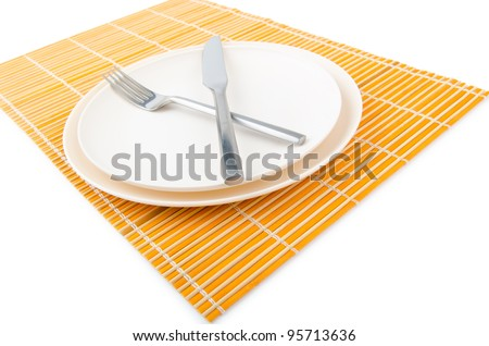 Food utensils served in plate - stock photo