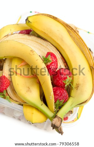 Food waste on a white background - stock photo