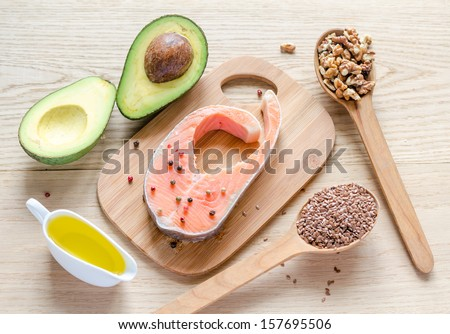 Food with unsaturated fats - stock photo