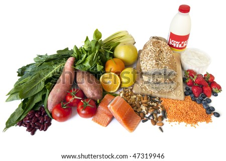 "Foods designated ""Diabetes Superfoods"", because of their low glycemic index, and valuable nutrients. - stock photo"