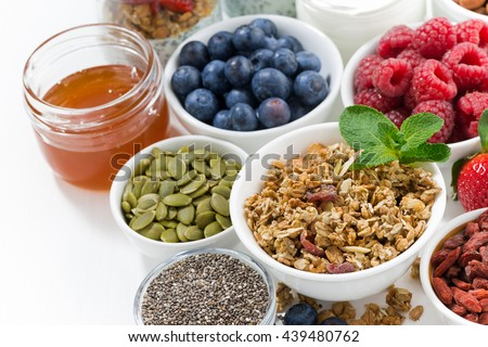foods for healthy nutrition and breakfast on white table, closeup, top view, horizontal - stock photo