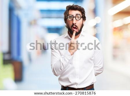 fool man shouting. shopping center background - stock photo