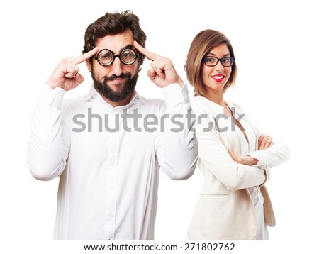 fool man thinking - stock photo