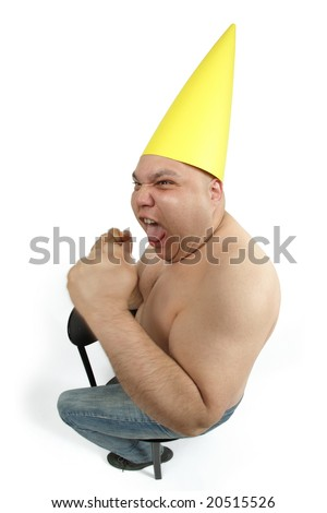 Fool sitting in the corner wearing a dunce cap freaking out.
