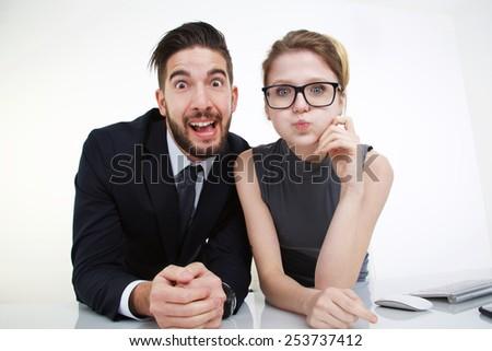 foolish couple - stock photo
