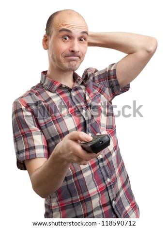 foolish man looks TV. Isolated on white - stock photo