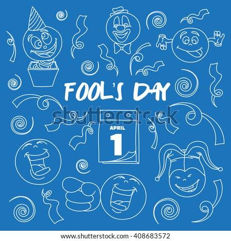 Fools day- 1 April. Smile, laugh, joke.  - stock photo