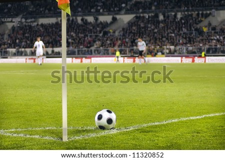 Foot ball in the Stadium's Corner - stock photo