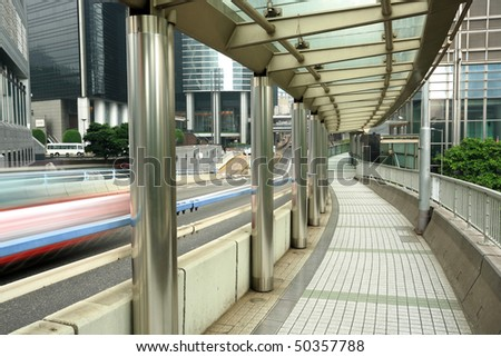 foot bridge in Hong Kong - stock photo