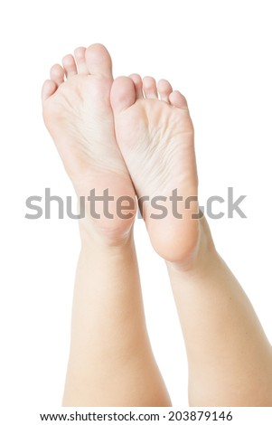Foot care. Beautiful female legs isolated on white background - stock photo