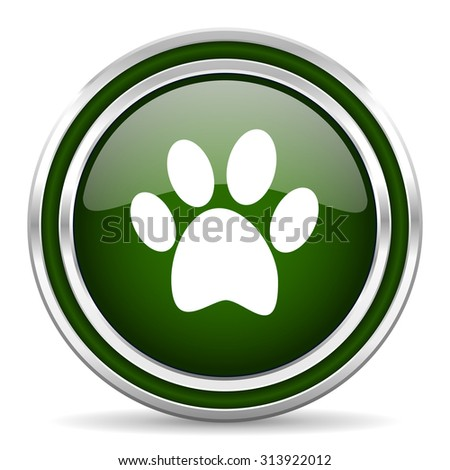 foot green glossy web icon modern design with double metallic silver border on white background with shadow for web and mobile app round internet original button for business usage  - stock photo