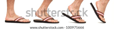 Foot in flip flop walking sequence - stock photo