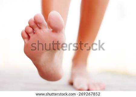 Foot outside - stock photo