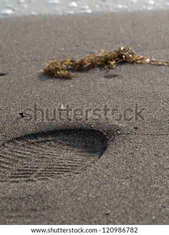 foot print on white sand beach and tropical sea
