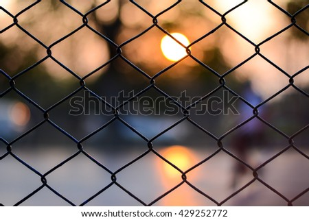Foot sall cage in chiang mai thailand , Sunset background - stock photo
