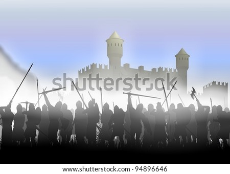 foot soldiers standing in the fog on the background of the fortress - stock photo
