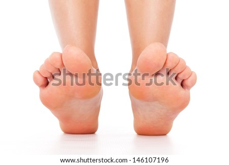 Foot stepping legs isolated - stock photo