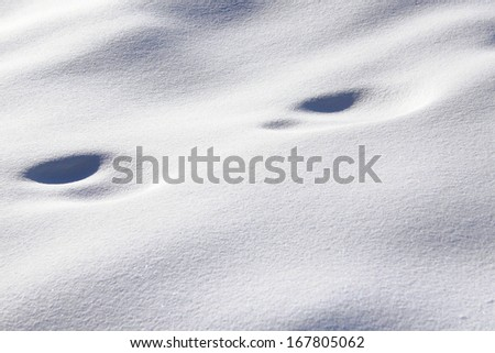 Foot traces in snow - stock photo