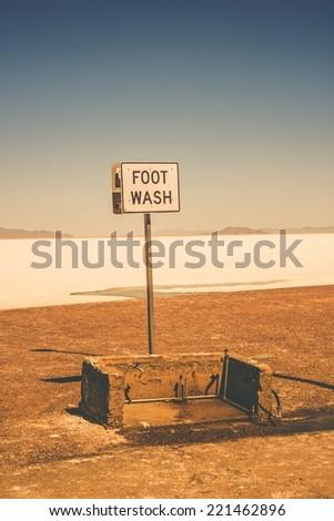 Foot Wash in Bonneville Salt Flats Area. Utah, United States. - stock photo