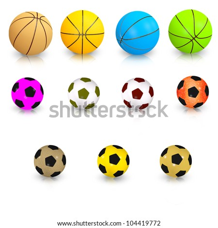 Football and basketball balls of different color - stock photo