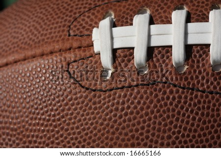 Football and laces close up with room for copy - stock photo