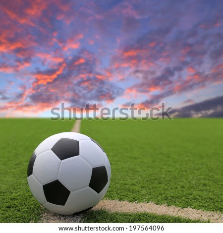 Football and soccer field grass stadium sunset sky background  - stock photo