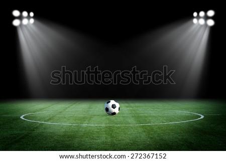 football at night stadium - stock photo