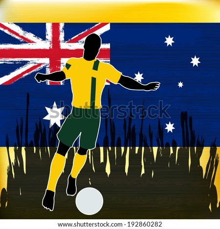 Football Australia, Soccer player over a grunged Australian Flag and cheering crowd - stock photo