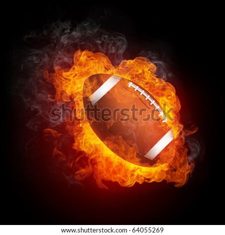 Football Ball in Fire Isolated on Black Background - stock photo