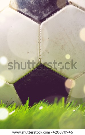 football ball is lying on grass on field - stock photo