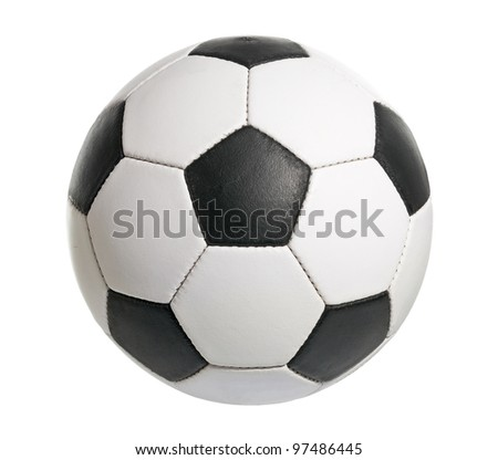 Football ball made of genuine leather - stock photo