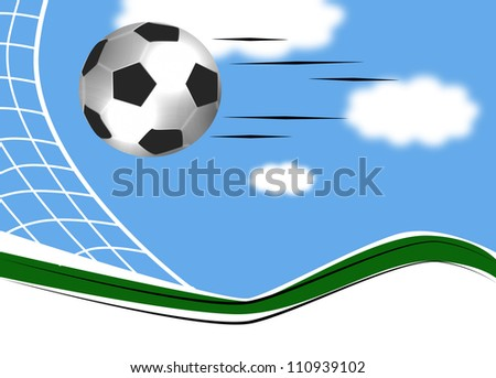 Football ball on the grass on the stadium with lights of blue sky - stock photo