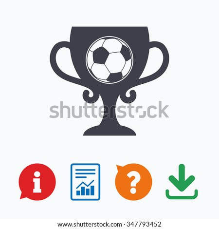 Football ball sign icon. Soccer Sport symbol. Winner award cup. Information think bubble, question mark, download and report. - stock photo