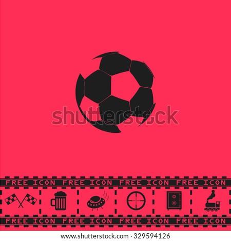 Football ball - soccer. Black flat illustration pictogram and bonus icon - Racing flag, Beer mug, Ufo fly, Sniper sight, Safe, Train on pink background - stock photo