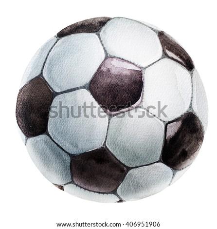 football ball watercolor - stock photo