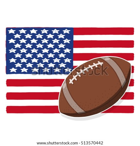 Football ball with American flag illustration; USA flag