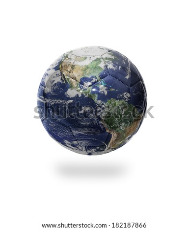 Football ball with the image of planet earth on white background.  Elements of this image furnished by NASA - stock photo